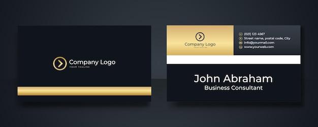 Luxuriöse königliche schwarz-gold-visitenkarte-design-vorlage moderne visitenkarten-design-vorlage mit goldenen art-deco-geometrischen linien