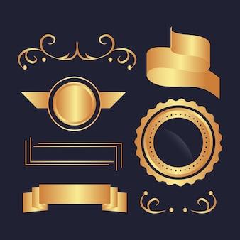 Luxuriöse kollektion mit goldenen elementen