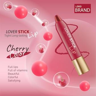 Luxuriöse kosmetische kirschlippenstiftverpackung und roter farbhintergrund für kosmetisches branding