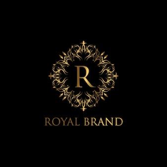 Luxuriöse logo-vorlage. logo mit design mit goldenem luxusornament.