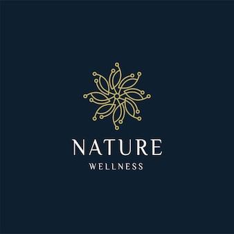 Luxuriöse natur floral blatt ornament logo symbol design vorlage gold elegante schönheit spa vektor