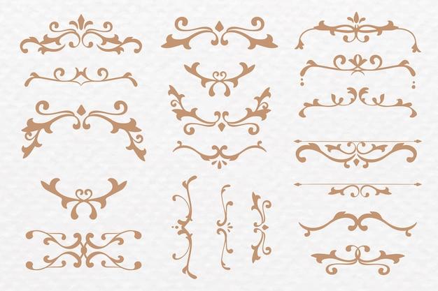 Luxuriöse ornamente bronze vektor schnörkel rahmenset