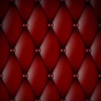 Luxuriöse rote lederpolsterung mit nahtlosem knopfmuster