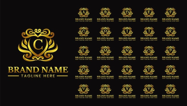Luxuriöse schildbuchstaben setzen logoschablone