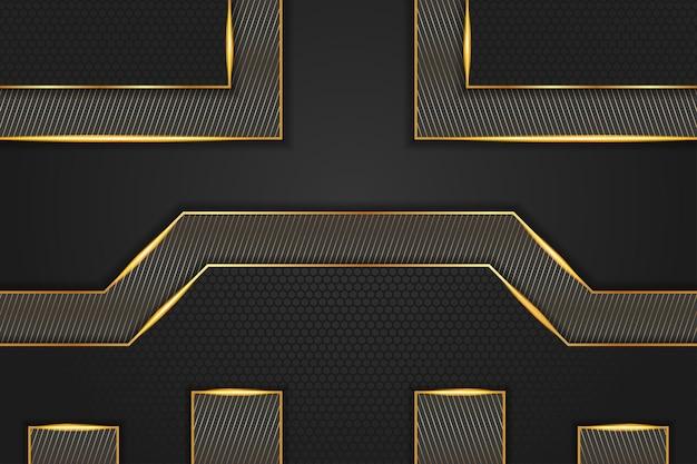 Luxuriöse schwarze hintergrundbanner-vektorillustration mit goldener streifenkunstlinie diagonal und sechseckig