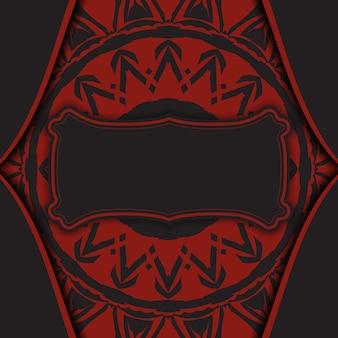 Luxuriöse vektorvorlage für printdesign-postkarte in schwarzer farbe mit roter griechischer verzierung. vorbereitung einer einladung mit platz für ihren text und abstrakte muster.