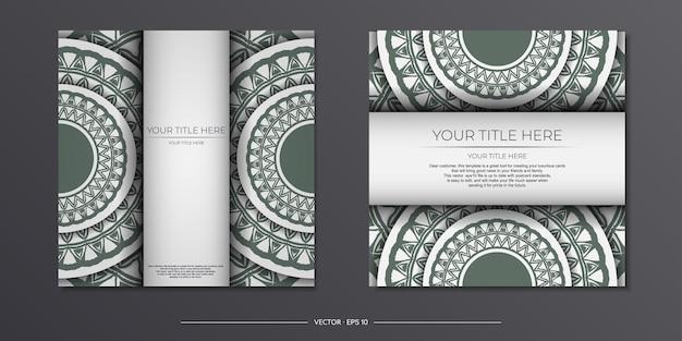 Luxuriöse vorlage für print-design-postkarte in weißer farbe mit dunklen griechischen ornamenten. vorbereitung einer einladungskarte mit platz für ihren text und vintage-muster.