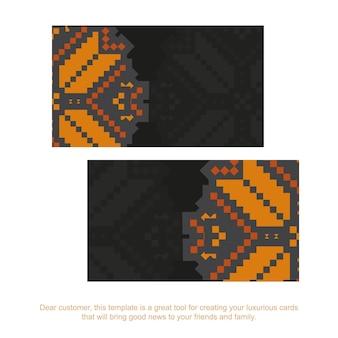 Luxuriöse vorlage für printdesign-postkarten in schwarz mit slowenischen mustern. vektorvorbereitung der einladungskarte mit platz für ihren text und vintage-ornament.