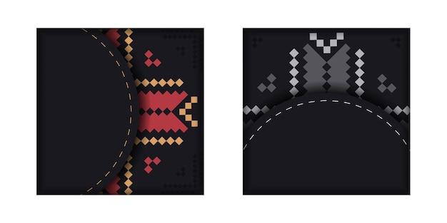 Luxuriöse vorlage für printdesign-postkarten in schwarz mit slowenischen mustern.