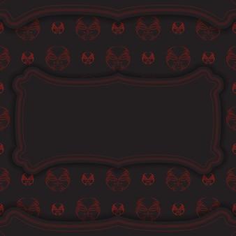 Luxuriöse vorlage für printdesign-postkarten in schwarzer farbe mit maske des götterornaments. vektor bereiten sie ihre einladung mit einem platz für ihren text und ihr gesicht in mustern im polizenischen stil vor.