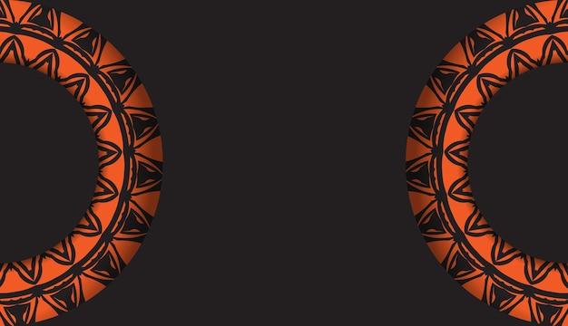 Luxuriöse vorlage für printdesign-postkarten in schwarzer farbe mit orangefarbenen mustern. vektor vorbereitung der einladungskarte mit platz für ihren text und abstrakte verzierung.
