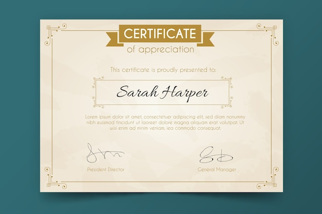 Luxuriöse zertifikatvorlage
