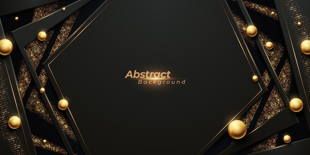 Luxuriöser abstrakter hintergrund mit leuchtenden goldstreifen, goldenem glanz und glänzenden ballperlen.