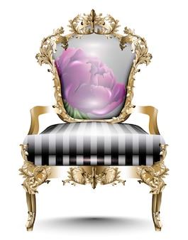 Luxuriöser barockstuhl aus weichem textil. vektor realistische 3d-designs. goldene geschnitzte ornamente