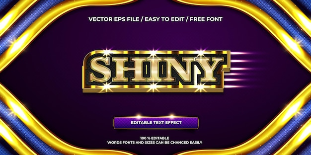 Luxuriöser bearbeitbarer texteffekt glänzender goldener 3d-textstil
