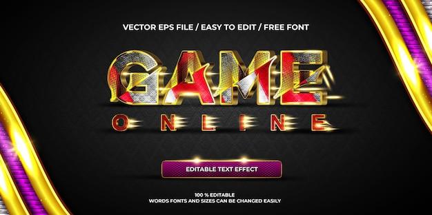 Luxuriöser bearbeitbarer texteffekt-spiel im gold-3d-textstil