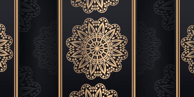 Luxuriöser dekorativer mandala-designhintergrund in der goldfarbe, vektorillustration