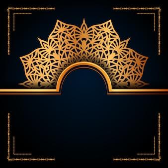 Luxuriöser dekorativer mandala-hintergrund für hochzeitseinladung, buchumschlag usw.
