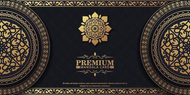 Luxuriöser dekorativer mandala-hintergrund mit arabischer islamischer ostmustermusterprämie