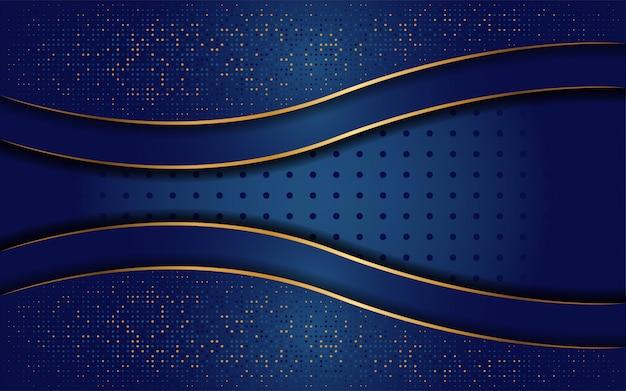 Luxuriöser dunkelblauer hintergrund mit einer kombination aus liniengold