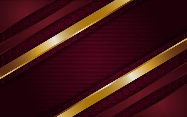 Luxuriöser dunkelroter hintergrund kombiniert mit leuchtenden goldenen linien. strukturierter hintergrund der überlappenden schicht