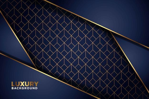 Luxuriöser dunkler dunkelblauer überlappungshintergrund mit goldenen linien. eleganter moderner futuristischer hintergrund.