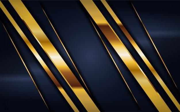 Luxuriöser dunkler marinehintergrund mit goldenen linien