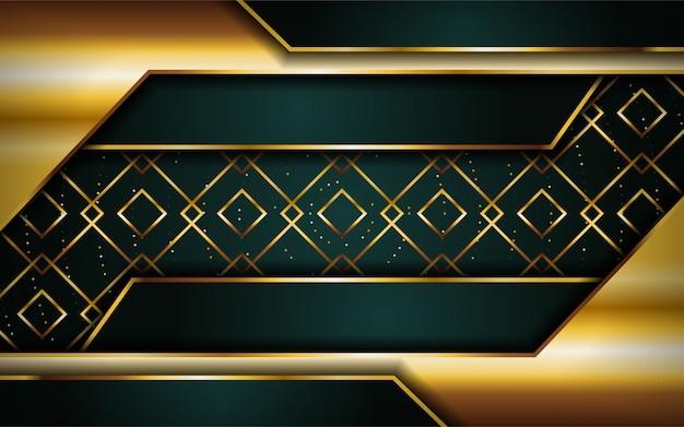 Luxuriöser erstklassiger marinegrün-zusammenfassungshintergrund mit goldenen linien.