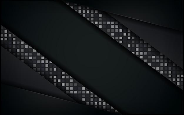 Luxuriöser erstklassiger schwarzer weißer abstrakter hintergrund mit goldenen linien. überlappung strukturierte layer-design.