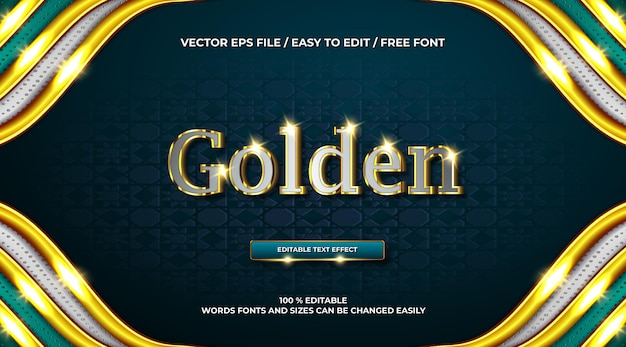 Luxuriöser goldener chrom 3d-texteffekt