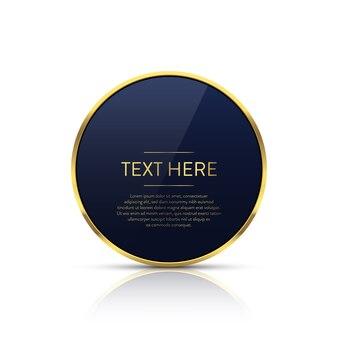 Luxuriöser goldener kreisrahmen mit textschablone