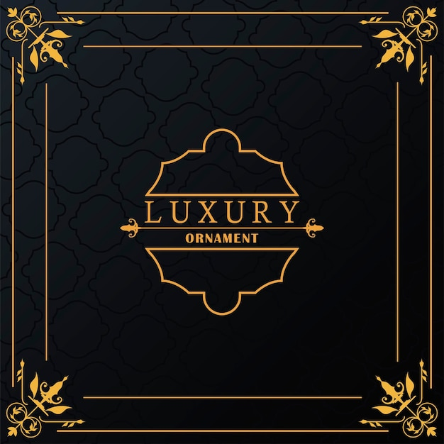 Luxuriöser goldener rahmen mit stil victorian im schwarzen hintergrund