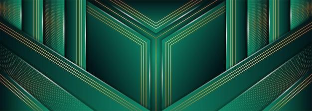 Luxuriöser grüner hintergrund kombiniert mit leuchtenden goldenen linien overlap layer dot halftone textured element design abstraktes horizontales layout