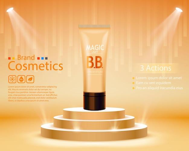 Luxuriöser hauttoner, bb-creme oder peeling-peeling in tube enthalten, dunkler hintergrund. kosmetisches und organisches make-up-konzept. vektor-illustration