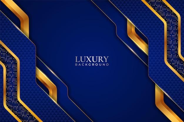 Luxuriöser hintergrund realistisches diagonalblau mit goldenem glitzerglanzeffekt