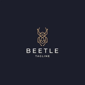 Luxuriöser käfer elegantes goldfarbenlogo-symbol-design-vorlage flach vecto