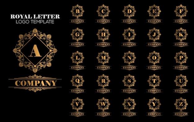 Luxuriöser königlicher weinlese-gold logo template vector