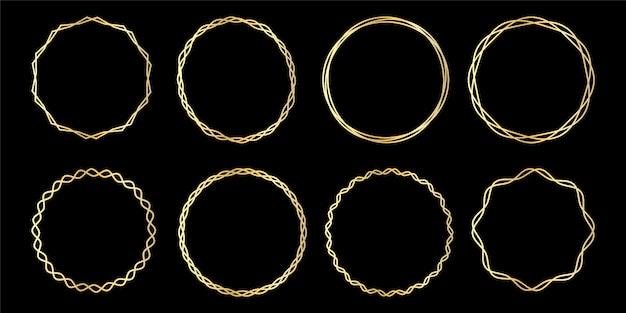 Luxuriöser königlicher weinlese-goldener kritzelnder kreisverzierungs-dekorativer rahmen kreisförmiger rahmen,