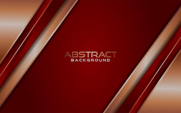 Luxuriöser moderner abstrakter roter und goldener linienhintergrund