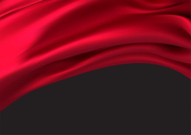 Luxuriöser roter stoff im schwarzen raum