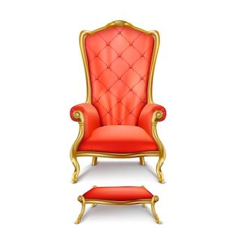 Luxuriöser roter thron im realistischen stil
