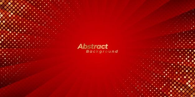 Luxuriöser roter zoomhintergrund mit abstrakten linien und goldenen punkten.
