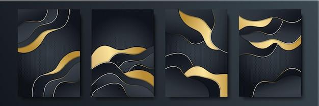 Luxuriöser schwarzer goldhintergrund. modernes elegantes business-präsentationsbanner. anzug für social-media-vorlage, cover, musterkarte, grußkarte, einladung. vektor-illustration.
