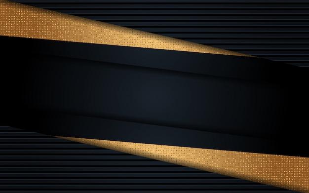 Luxuriöser schwarzer hintergrund mit linie gold