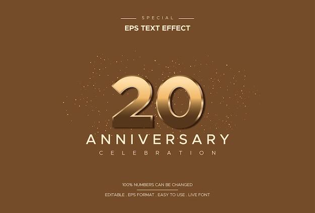 Luxuriöser und eleganter texteffekt des zwanzigjährigen jubiläums auf goldzahl auf braunem hintergrund