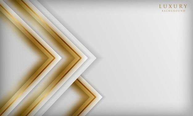 Luxuriöser weißer hintergrund mit goldener unschärfelinie elemente 3d elegante designschablone