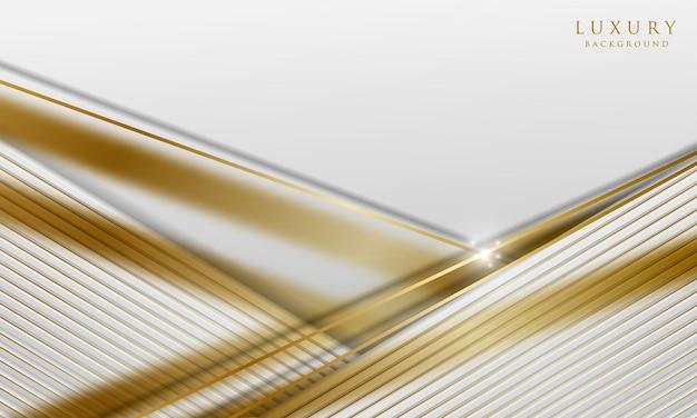 Luxuriöser weißer papierschnitthintergrund mit goldenen diagonalen linien und unschärfeeffekt