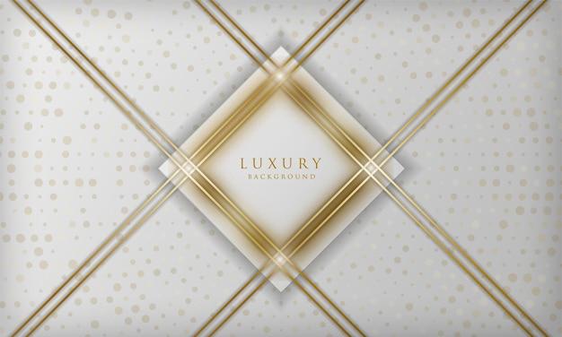Luxuriöser weißer und goldener quadratischer linienhintergrund mit eleganter designschablone der funkelnden punkteelemente