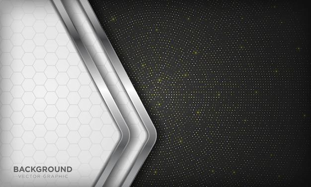 Luxuriöser weißer und schwarzer überlappungshintergrund mit realistischer silberner linie und sechseck auf glänzendem goldenem radialem halbton.