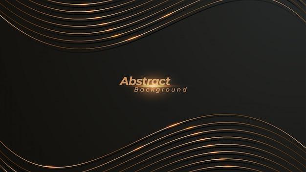 Luxuriöser wellenförmiger hintergrund mit schimmernden goldenen linien.